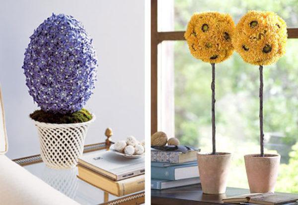 Небольшое по высоте цветочное произведение с крупными соцветиями