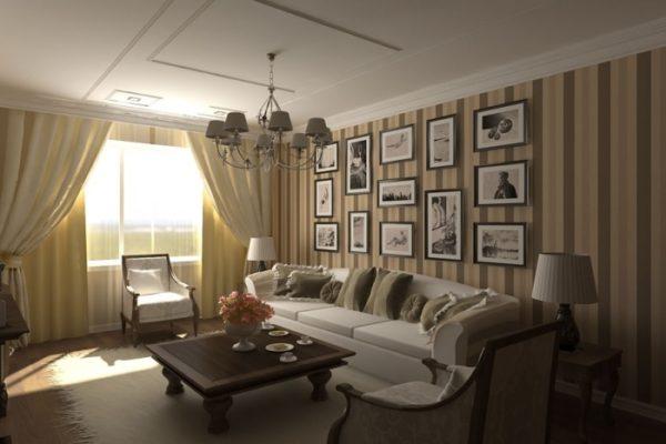 Отделка стен обоями в полоску в интерьере гостиной