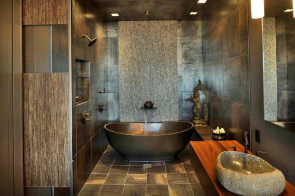Плитка для ванной в тёмных тонах