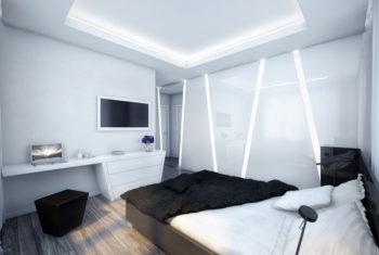 Потолки в спальне в современном стиле