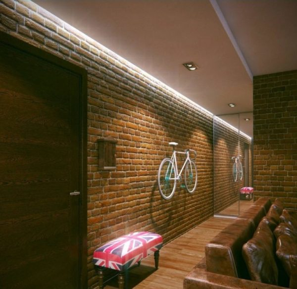 Применение светодиодной ленты в освещении комнаты Лофт