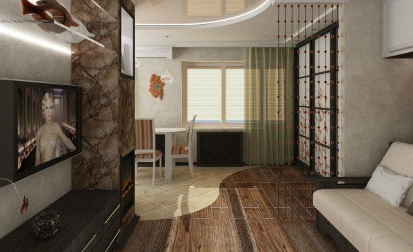 Разграничит и расширит пространство пол, зонированный по цвету и форме