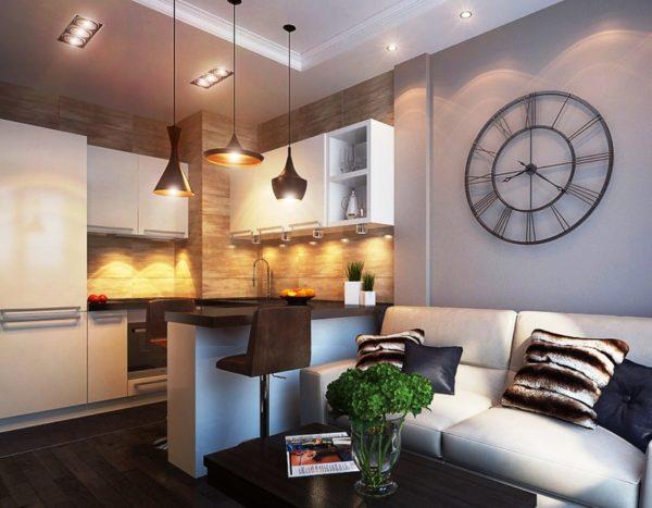 Разделение кухни-гостиной при помощи света