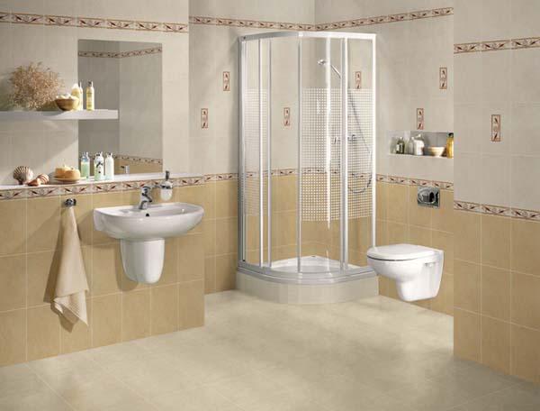 Стены ванной комнаты, выложены кафелем