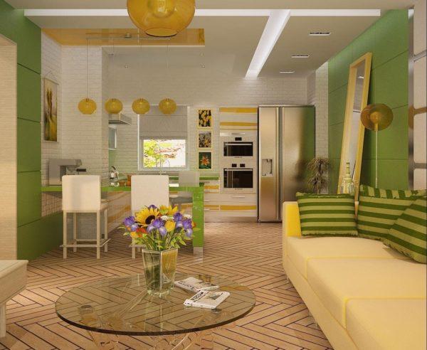 Стилистика кухонного уголка нашла отражение в диванном текстиле