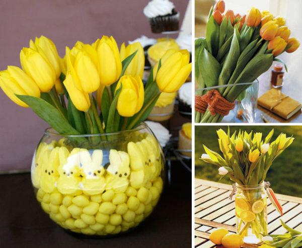 Цветки с короткими стеблями и элементы для декора