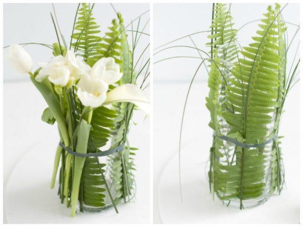 Цветы вокруг стеклянных сосудов