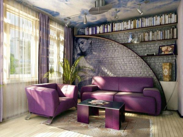 Цвет, фактура и идея изображенные на стене