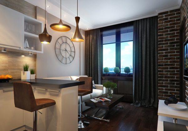 Элементом кухни-гостиной в 16 квадратов является барная стойка