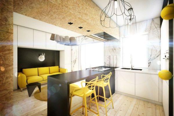 Классическая кухня-гостиная размером 16 квадратов