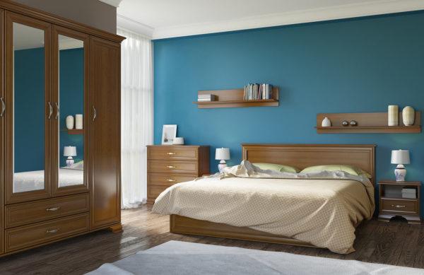 Каштановый оттенок мебели в спальной комнате