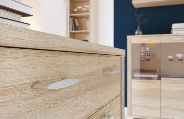 Корпусы и фасады всех мебельных элементов выполнены в светлых, мягких и приятных для глаза тонах